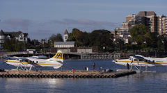 Float Plane Arrives in Victoria Harbor Stock Footage
