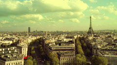 Panorama over Paris city,with the most famous attraction in Paris, Stock Footage