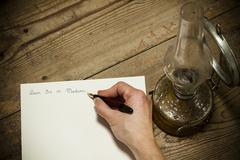 Old fashoined writing hand Stock Photos