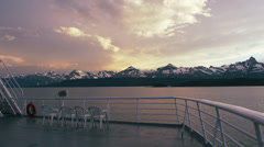 Alaska Ferry Aft Deck Empty Chairs Sunset Clouds Handheld - stock footage