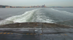 Seattle Ferry Ride Rear View Cityscape Tilt Shift Stock Footage