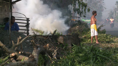 Hurricane Aftermath Clean Up Burning Debris Fires Stock Footage