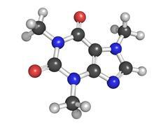 molecular model of caffeine - stock illustration
