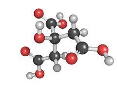 Citric acid, molecular model. Stock Illustration