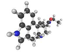 Molecular model of lysergic acid diethylamide (lsd) Stock Illustration