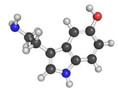 Chemical structure of serotonin Stock Illustration