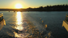 Seattle Ferry Ride Rear View Sunset Tilt Shift Stock Footage