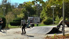 Skateboarders in training Stock Footage