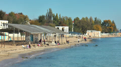The beach in Evpatoria Stock Footage