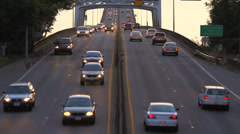 Seattle Highway 520 Traffic Bridge Sunset Stock Footage