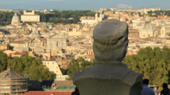 Statues in Janiculum, with view of Rome 4 Stock Footage