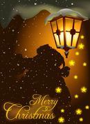 Christmas Streetlight Stock Illustration