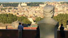 Statues in Janiculum, with view of Rome 3 Stock Footage