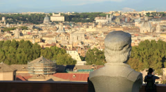 Statues in Janiculum, with view of Rome 2 Stock Footage