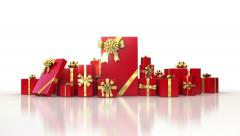 Red gifts on white background. Holiday 3d animation Stock Footage