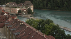Bern, Berne, Switzerland - houses in the Old City of Bern Stock Footage