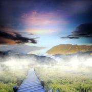 Beautiful high mountain sunset Stock Photos