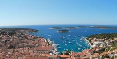 Mediterranean town hvar panorama Stock Photos