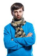 Young man wearing scarf and sweater Stock Photos