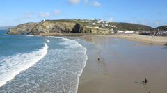 Portreath incoming tide timelapse, Cornwall England. - stock footage