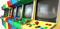 Stock Illustration of a flat row of vintage unbranded arcade games with joysticks and various color