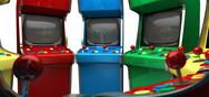 Stock Illustration of a circle of vintage unbranded arcade games with joysticks and various colored