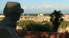Statues in Janiculum, with view of Rome 7 Stock Footage
