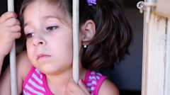 Desperate little girl orphan. Stock Footage