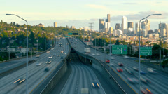 Seattle I-5 Traffic Time Lapse Stock Footage