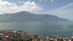 Montreux, Lake Geneva, Lake Leman. Stock Footage