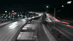 Seattle I-5 Traffic Time Lapse Night Tilt Shift Stock Footage