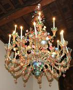 Glass chandelier murano glass in an ancient venetian villa Stock Photos