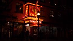 Stock Video Footage of Street at Night in Victoria's Chinatown