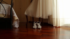 Wedding shoes and dress (electronic slide) Stock Footage