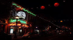Street at Night in Victoria's Chinatown Stock Footage