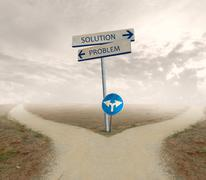 problem and solution way - stock photo