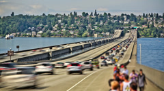 Seattle I-90 Traffic Time Lapse Stock Footage