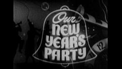 Happy NEW YEAR! PARTY Fun Celebration Vintage Old Film Title Graphic Leader 7070 Stock Footage