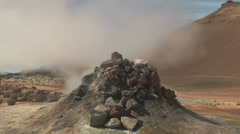 loud noising fumarole in iceland - stock footage