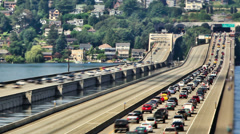 Seattle I-90 Traffic Time Lapse Zoom Stock Footage