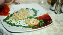 Preparation of a dish in the table Stock Footage