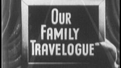 OUR FAMILY TRAVELOGUE Travel Vacation Vintage Old Film Title Graphic Leader 7071 - stock footage