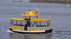 Water Taxi in Victoria Harbor Stock Footage