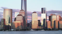 Stock Video Footage of Lower Manhattan at Sunset