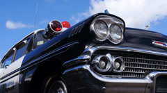 50s old chevrolet police car Stock Footage