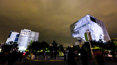 Video Art Projected on downtown Dallas towers at Aurora fest Stock Footage
