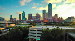 Panning Time-lapse of Dallas Skyline dawn - stock footage
