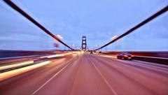 SF City Driving Time Lapse Golden Gate Bridge Stock Footage