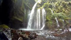 Powerful jungle waterfall Stock Footage