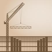 Building and cranes at sunset Stock Illustration
